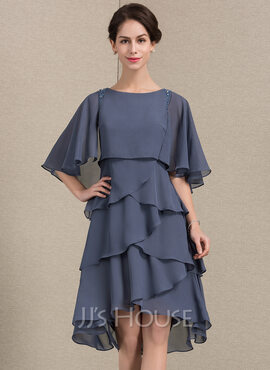 A-Line Scoop Neck Asymmetrical Chiffon Mother of the Bride Dress With Beading Sequins Cascading Ruffles (008143365)