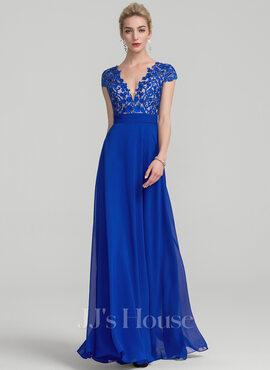 A-Line V-neck Floor-Length Chiffon Evening Dress With Ruffle (017116321)