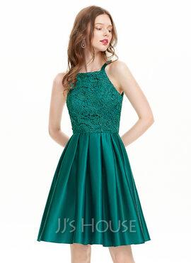 A-Line Square Neckline Knee-Length Satin Homecoming Dress (022127920)