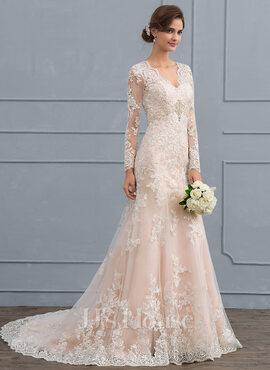 Trumpet/Mermaid V-neck Court Train Tulle Lace Wedding Dress (002118440)