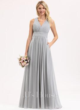 A-Line V-neck Floor-Length Chiffon Bridesmaid Dress With Ruffle Bow(s) Pockets (007206456)