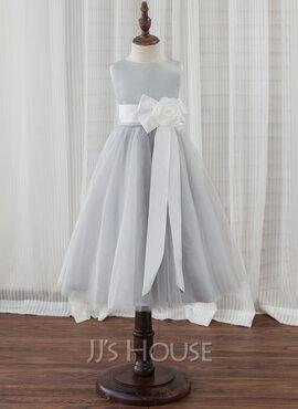 A-Line Tea-length Flower Girl Dress - Satin/Tulle Sleeveless Scoop Neck With Flower(s) (010153213)