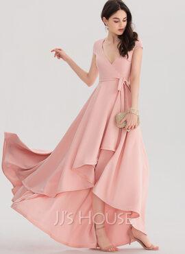 A-Line V-neck Asymmetrical Stretch Crepe Prom Dresses (018138365)