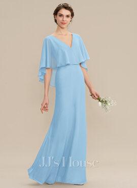 A-Line V-neck Floor-Length Chiffon Bridesmaid Dress (007176766)