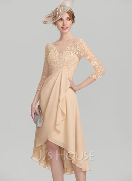 A-Line V-neck Asymmetrical Chiffon Lace Mother of the Bride Dress With Cascading Ruffles (008114261)