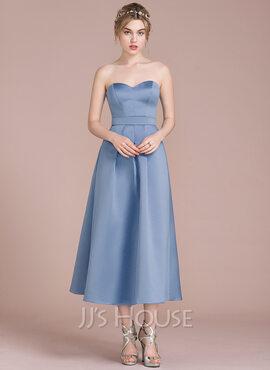 A-Line/Princess Sweetheart Tea-Length Satin Bridesmaid Dress (007104745)