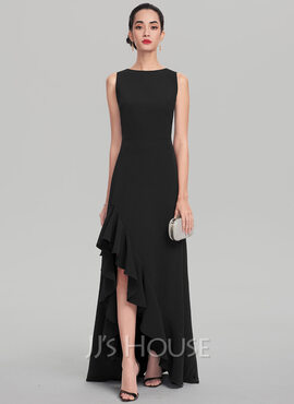 A-Line Scoop Neck Asymmetrical Stretch Crepe Evening Dress With Cascading Ruffles (017137358)