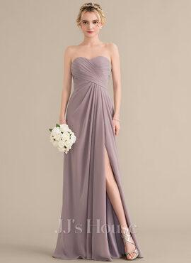 A-Line/Princess Sweetheart Floor-Length Chiffon Bridesmaid Dress With Ruffle Split Front (007144759)