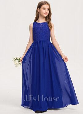 A-Line Scoop Neck Floor-Length Chiffon Lace Junior Bridesmaid Dress (009208577)