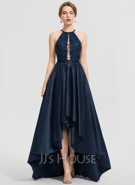 A-Line Scoop Neck Asymmetrical Satin Prom Dresses (018192374)
