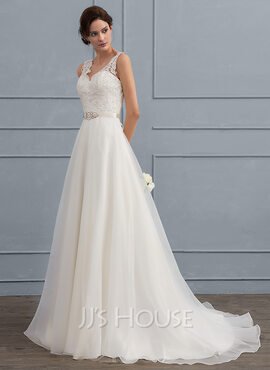 A-Line V-neck Sweep Train Organza Wedding Dress With Beading Bow(s) (002118436)