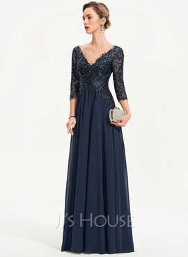 A-Line V-neck Floor-Length Chiffon Evening Dress With Sequins (017186134)