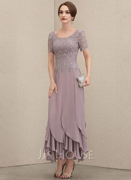 A-Line Scoop Neck Ankle-Length Chiffon Lace Mother of the Bride Dress With Cascading Ruffles (008204898)