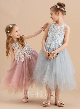 A-Line Tea-length Flower Girl Dress - Tulle/Lace Sleeveless Scoop Neck (010172370)