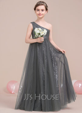 A-Line One-Shoulder Floor-Length Tulle Sequined Junior Bridesmaid Dress With Ruffle (009106842)
