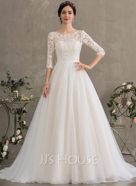 Ball-Gown/Princess Scoop Neck Court Train Tulle Wedding Dress With Sequins (002186395)