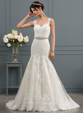 Trumpet/Mermaid Sweetheart Sweep Train Tulle Wedding Dress (002134813)