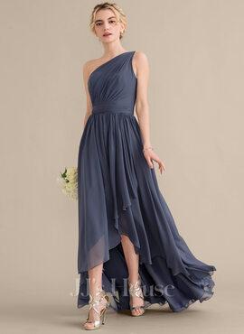 A-Line One-Shoulder Asymmetrical Chiffon Bridesmaid Dress With Cascading Ruffles (007144732)