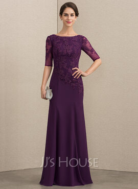 Trumpet/Mermaid Scoop Neck Floor-Length Chiffon Lace Mother of the Bride Dress (008164067)