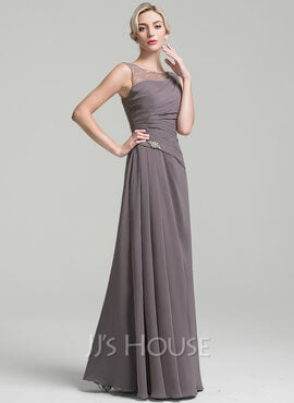 A-Line Scoop Neck Floor-Length Chiffon Mother of the Bride Dress With Ruffle Beading (008091963)