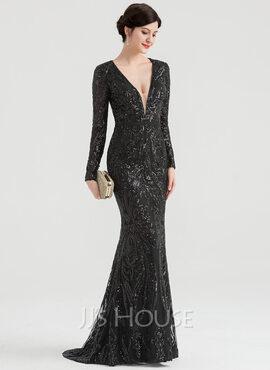 Trumpet/Mermaid V-neck Sweep Train Sequined Evening Dress (017147961)