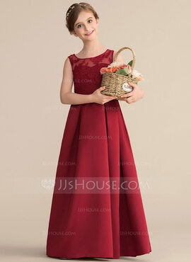 A-Line Scoop Neck Floor-Length Satin Lace Junior Bridesmaid Dress With Ruffle Bow(s) (009165006)