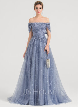A-Line Off-the-Shoulder Sweep Train Tulle Evening Dress With Sequins (017147951)