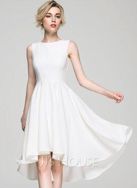 A-Line Scoop Neck Asymmetrical Stretch Crepe Cocktail Dress (016081196)