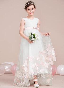 A-Line V-neck Asymmetrical Tulle Junior Bridesmaid Dress With Sash Flower(s) Bow(s) (009115401)