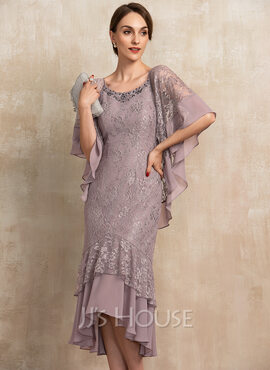 Trumpet/Mermaid Scoop Neck Asymmetrical Chiffon Lace Mother of the Bride Dress With Beading Sequins (008217332)