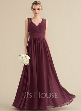 A-Line/Princess V-neck Floor-Length Chiffon Lace Bridesmaid Dress With Ruffle Bow(s) (007131063)