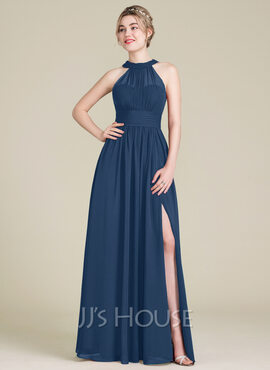 A-Line Scoop Neck Floor-Length Chiffon Bridesmaid Dress With Ruffle Bow(s) Split Front (007105574)