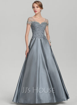 A-Line V-neck Floor-Length Satin Lace Mother of the Bride Dress With Beading Sequins (008131956)