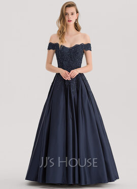 Ball-Gown/Princess Off-the-Shoulder Floor-Length Satin Prom Dresses With Beading Sequins (018138377)