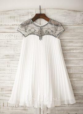 A-Line/Princess Knee-length Flower Girl Dress - Chiffon Sleeveless Scoop Neck With Rhinestone (010105751)