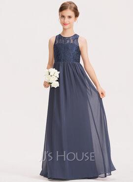 A-Line Scoop Neck Floor-Length Chiffon Lace Junior Bridesmaid Dress (009191711)
