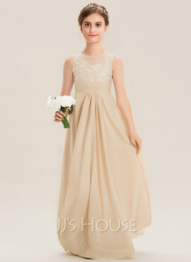 A-Line Scoop Neck Floor-Length Chiffon Lace Junior Bridesmaid Dress (009173314)