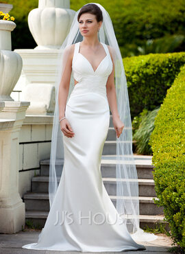 Trumpet/Mermaid V-neck Sweep Train Charmeuse Wedding Dress With Ruffle Beading Sequins (002012598)