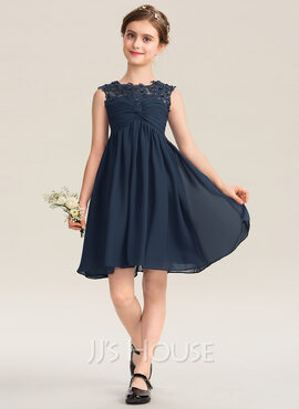 Empire Scoop Neck Knee-Length Chiffon Lace Junior Bridesmaid Dress With Ruffle Beading Sequins (009173289)