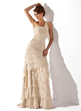 A-Line One-Shoulder Sweep Train Chiffon Mother of the Bride Dress With Beading Cascading Ruffles (008006056)