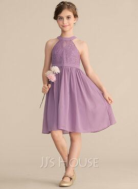 A-Line Scoop Neck Knee-Length Chiffon Lace Junior Bridesmaid Dress (009165034)