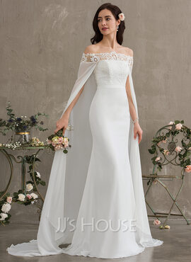 Sheath/Column Off-the-Shoulder Court Train Chiffon Wedding Dress (002187040)