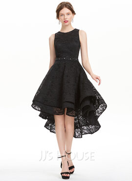 A-Line Scoop Neck Asymmetrical Lace Homecoming Dress (022127950)