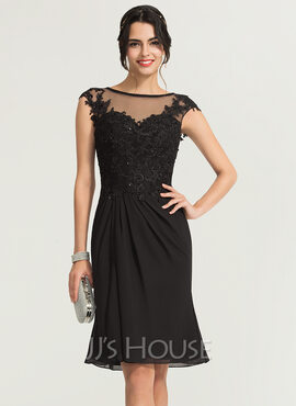 Trumpet/Mermaid Scoop Neck Knee-Length Chiffon Cocktail Dress With Beading (016170900)