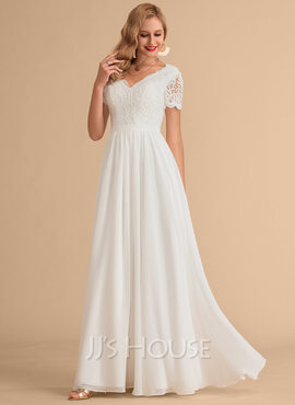 A-Line V-neck Floor-Length Chiffon Lace Wedding Dress (002215652)
