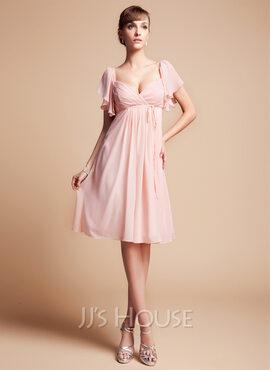 Empire Sweetheart Knee-Length Chiffon Bridesmaid Dress With Cascading Ruffles (007004126)