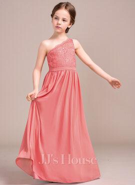 A-Line One-Shoulder Floor-Length Chiffon Lace Junior Bridesmaid Dress (009081131)