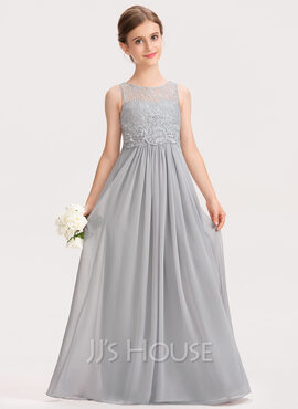 A-Line Scoop Neck Floor-Length Chiffon Lace Junior Bridesmaid Dress (009191728)