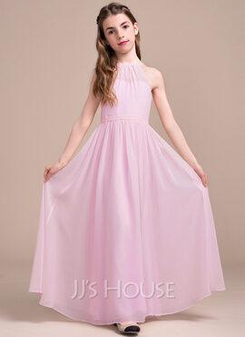 A-Line Scoop Neck Floor-Length Chiffon Junior Bridesmaid Dress With Ruffle (009081144)