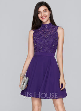 A-Line High Neck Short/Mini Chiffon Homecoming Dress (022124839)